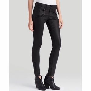 Rag & Bone coated zipper moto jeans in black